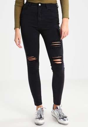 SINNER HIGHWAISTED AUTHENTIC RIPPED - Skinny džíny - black