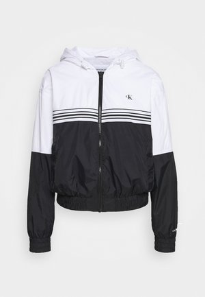 STRIPE TAPE HOODED WINDBREAKER - Summer jacket - black
