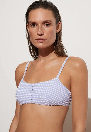 GINGHAM - Bikini top - light blue