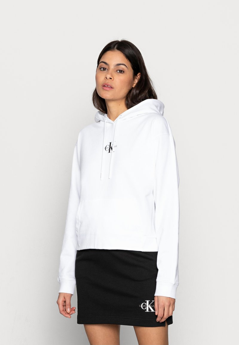Calvin Klein Jeans - CROPPED MONOGRAM HOODIE - Sweatshirt - white