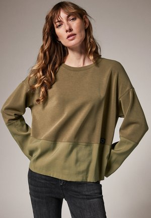 SCUBA-SHIRT MIT TWILL-PARTIEN - Long sleeved top - khaki