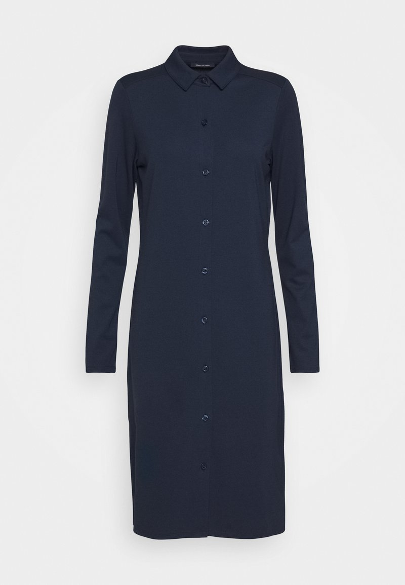 Marc O'Polo DRESS LONG SLEEVE COLLAR BUTTON PLACKET - Jerseykleid - midnight blue/dunkelblau pqls4k