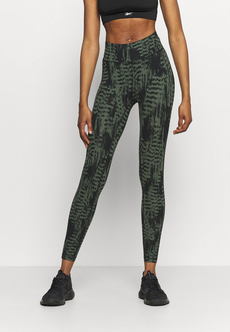 Casall - ICONIC PRINTED 7/8 - Tights - survive dark green