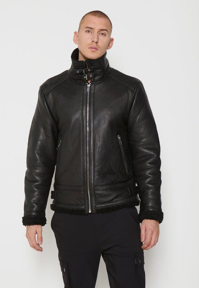AUSTIN - Veste en cuir - black