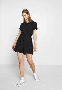 Even&Odd - BASIC - SHORT SLEEVES BOAT PLAYSUIT - Combinaison - black - 0