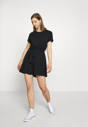 BASIC - SHORT SLEEVES BOAT PLAYSUIT - Mono - black