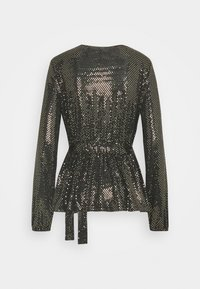 ONLY - ONLFURIOUS GLITTER WRAP - Blouse - black/gold - 1