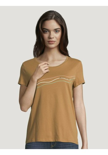 Print T-shirt - soft camel