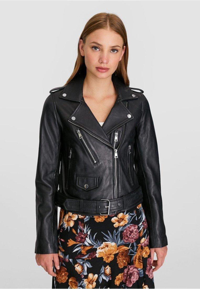 Stradivarius - Leather jacket - black