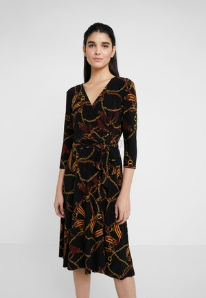 PRINTED MATTE DRESS - Jerseyklänning - black/gold/multi