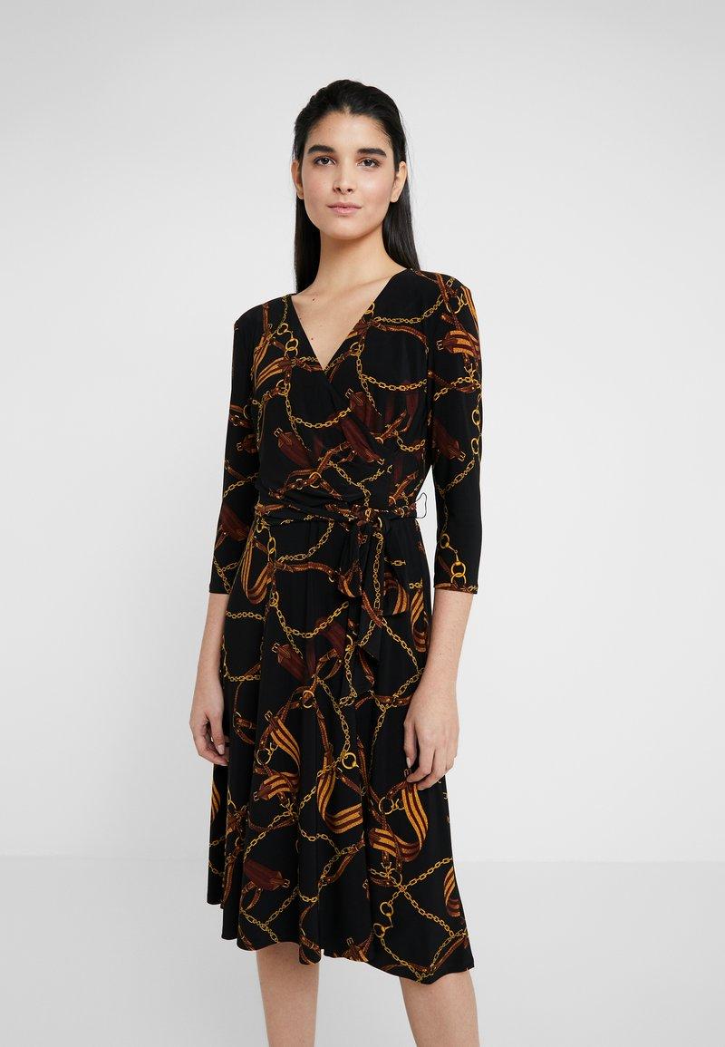 Lauren Ralph Lauren - PRINTED MATTE DRESS - Robe en jersey - black/gold/multi