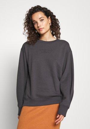 EMBOSSED LOGO PUFF SLEEVE CREW - Sweatshirt - black
