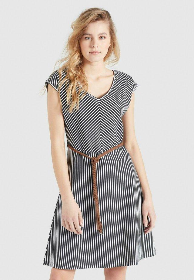 LEIFA - Korte jurk - dunkelblau-weiß gestreift