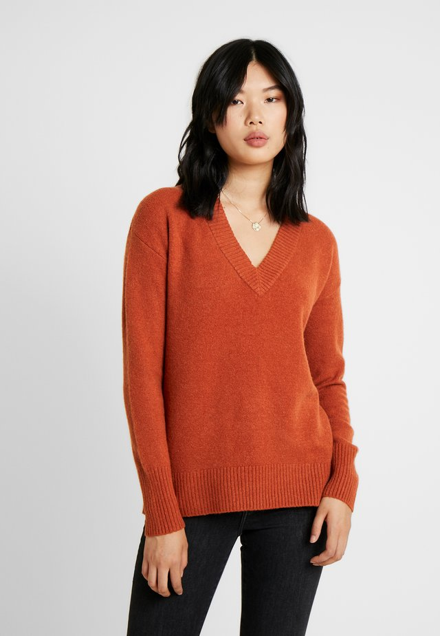 COM BOUCLE VNECK  - Jumper - copper spice