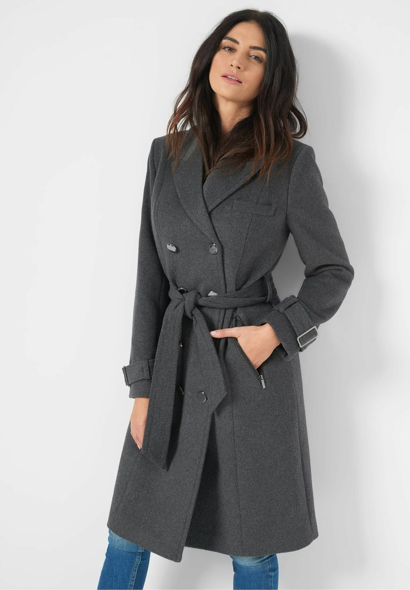 ORSAY - MIT BINDEGÜRTEL - Classic coat - dunkelgrau meliert