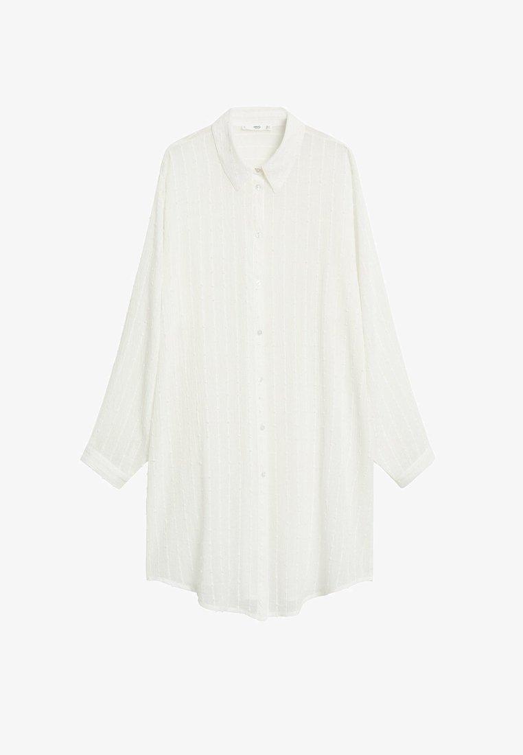 Mango - STRUKTURIERTES OVERSIZE-HEMD - Button-down blouse - cremeweiß