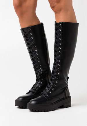 ONL LACE UP TALL BOOT - Plateaustiefel - black