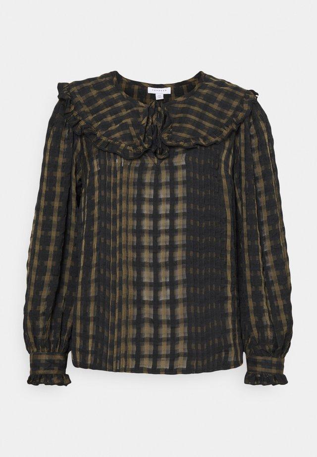 CHECK COLLAR - Bluzka z długim rękawem - khaki