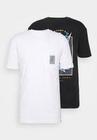 PRINT POCKET BOAT TEE 2 PACK - Print T-shirt - black/white