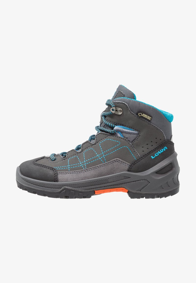 Lowa - APPROACH GTX MID JUNIOR - Walking boots - anthrazit/türkis