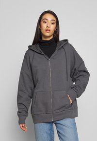 Nly by Nelly - CHUNKY ZIP HOODIE - Zip-up hoodie - offblack - 0