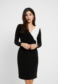 Lauren Ralph Lauren Petite - ALEXIE LONG SLEEVE DAY DRESS - Fodralklänning - black/white - 0