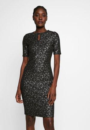 SMUDGE FOIL BODYCON - Pouzdrové šaty - black