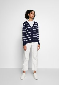 Anna Field - STRIPED CARDIGAN  - Cardigan - white/maritime blue - 1