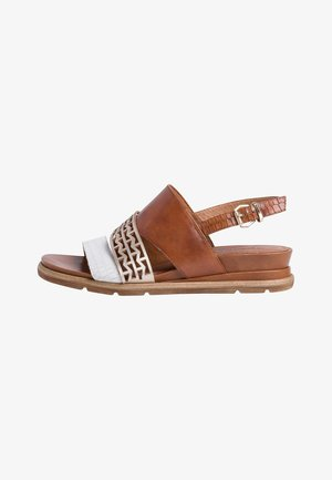 Wedge sandals - nut lea. comb