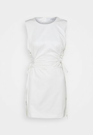 SLEEVELESS MINI DRESSES WITH HIGH ROUND NECK AND LACE UP SIDES - Sukienka letnia - off white