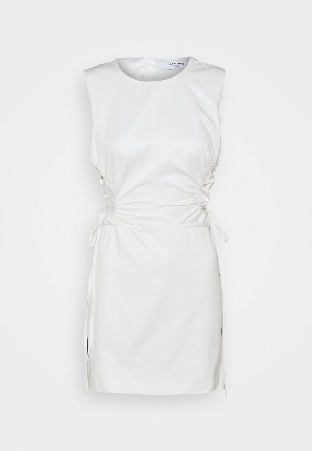 SLEEVELESS MINI DRESSES WITH HIGH ROUND NECK AND LACE UP SIDES - Korte jurk - off white