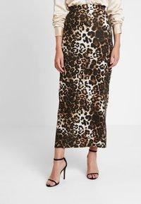 Dorothy Perkins - ANIMAL PRINT SKIRT - Maxi skirt - brown - 0