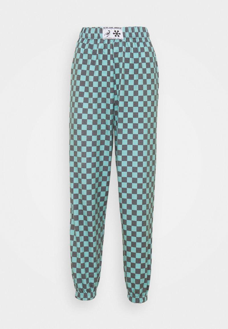 NEW girl ORDER - TEAL CHECKERBOARD TROUSER - Teplákové kalhoty - black/teal