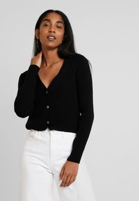 Missguided - SKINNY CROPPED CARDIGAN - Cardigan - black - 0