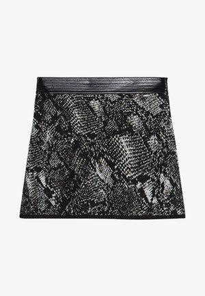 A-line skirt - black/snakeskin jacquard