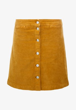 GARMENT DYE BUTTON FRONT MINI - Falda acampanada - golden brandy