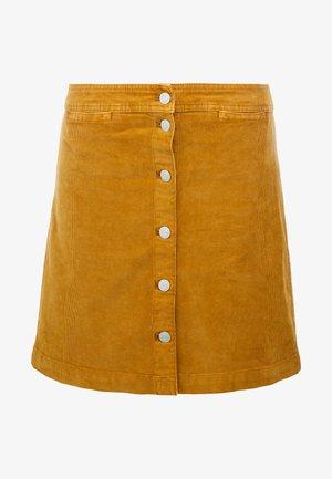 GARMENT DYE BUTTON FRONT MINI - A-line skirt - golden brandy