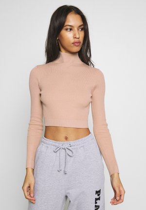 BASIC HIGH NECK DETAIL KNITTED CROP - Pullover - sand