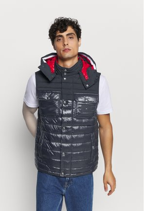 STRETCH QUILTED HOODED VEST - Kamizelka - blue