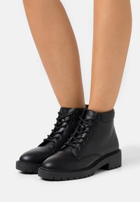 New Look Wide Fit - WIDE FIT APRIL LACE UP  - Lace-up ankle boots - black - 0