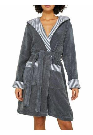 BADEMANTEL MIT STREIFEN - Dressing gown - grey steel