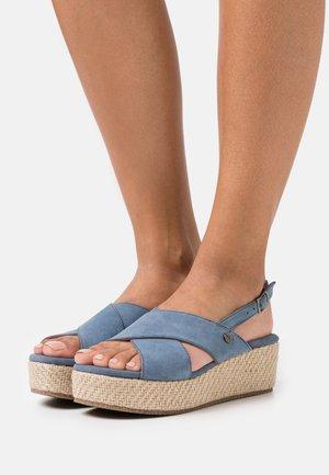 LEATHER - Sandály na platformě - blue