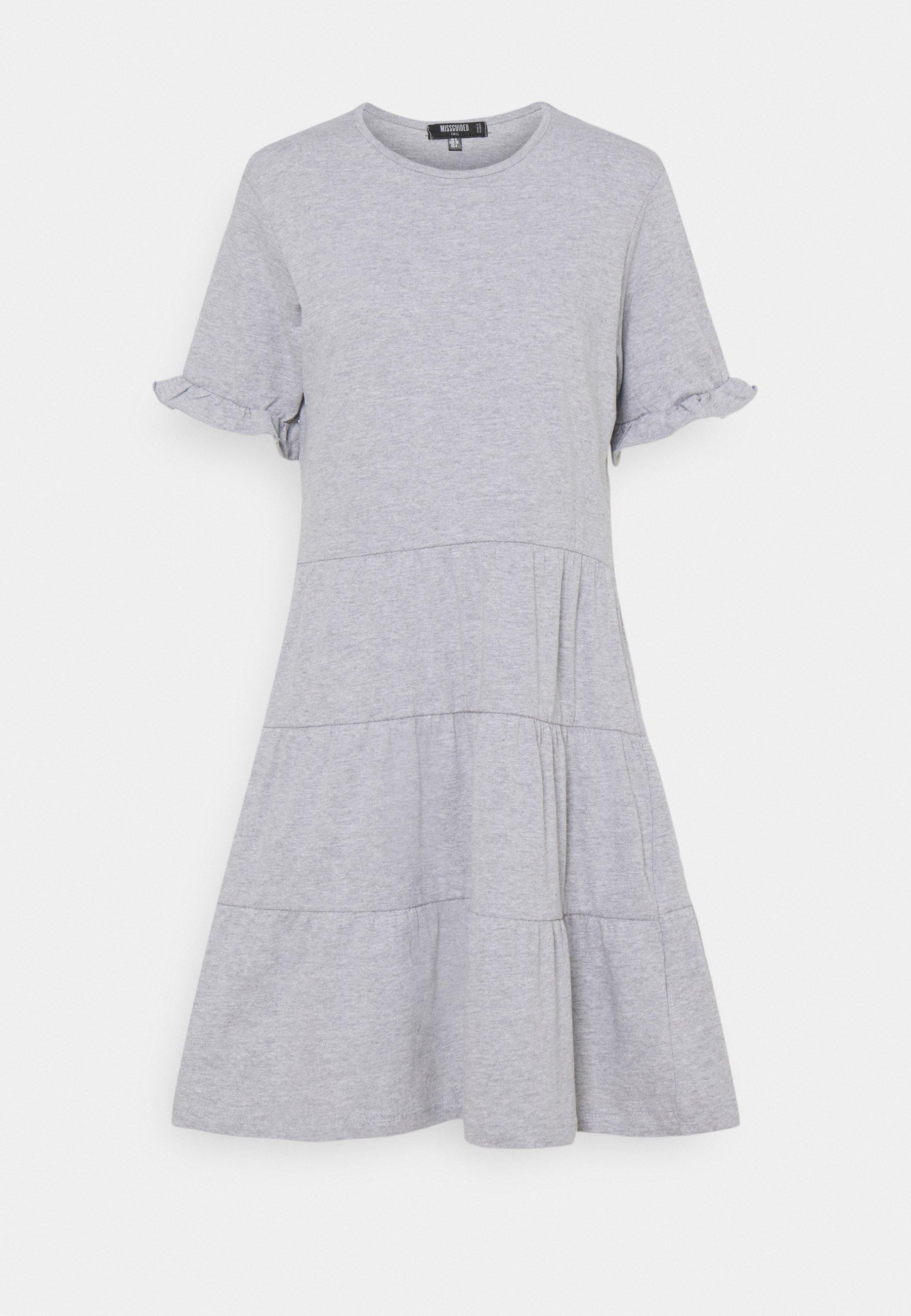 Women FRILL SLEEVE TIERED SMOCK DRESS  - Jersey dress - grey