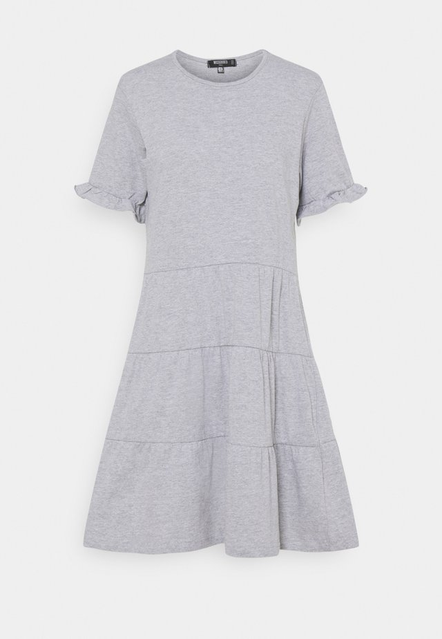 FRILL SLEEVE TIERED SMOCK DRESS  - Jersey dress - grey