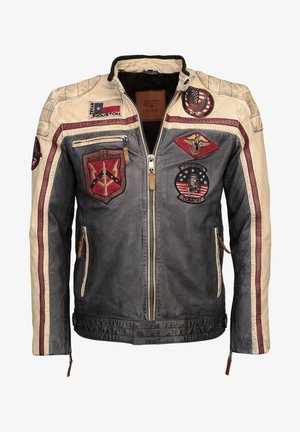 MIT STICKEREIEN  - Leather jacket - navy/offwhite/bordeaux