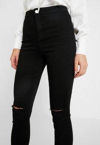 Missguided - VICE HIGHWAISTED SLASH KNEE  - Jeans Skinny Fit - black - 3