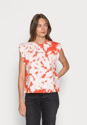T-shirt imprimé - ivory/orange