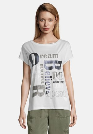 MIT AUFDRUCK - Print T-shirt - weiß/taupe