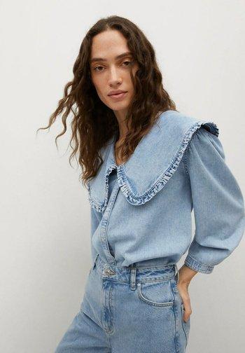 Button-down blouse - halvblå