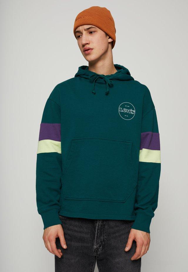 BLOCKED OPEN HEM HOODIE UNISEX - Sweatshirt - greens